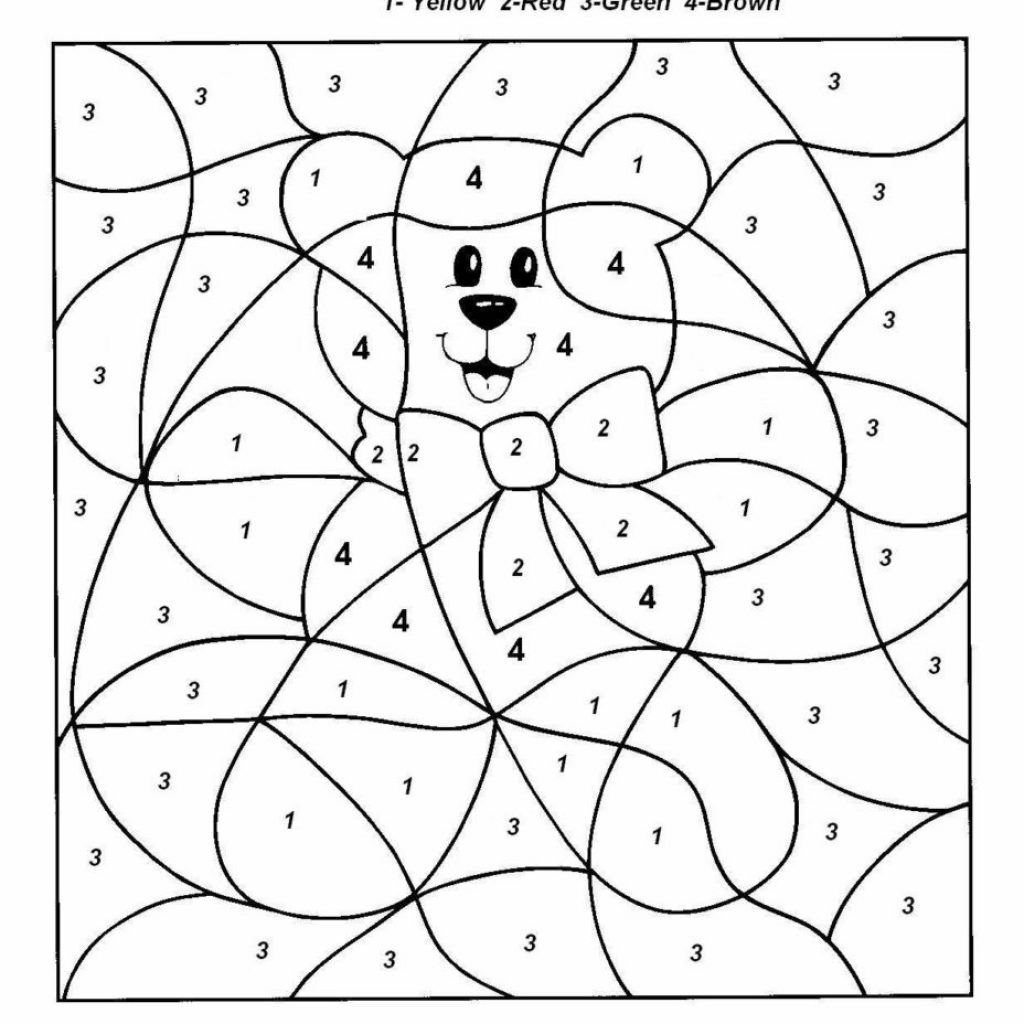 Christmas Coloring Pages By Number With Easy Color For Preschool And Kindergarten