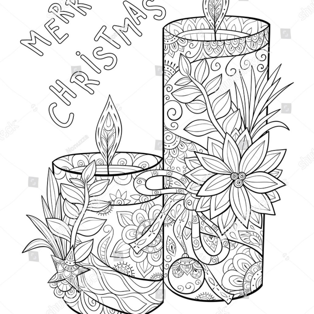Christmas Coloring Pages Candle With Adult Pagebook Cute Candles Flowersleaves Stock Vector