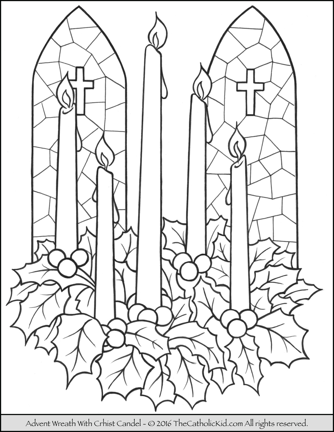 Christmas Coloring Pages Candle With Advent Wreath Page
