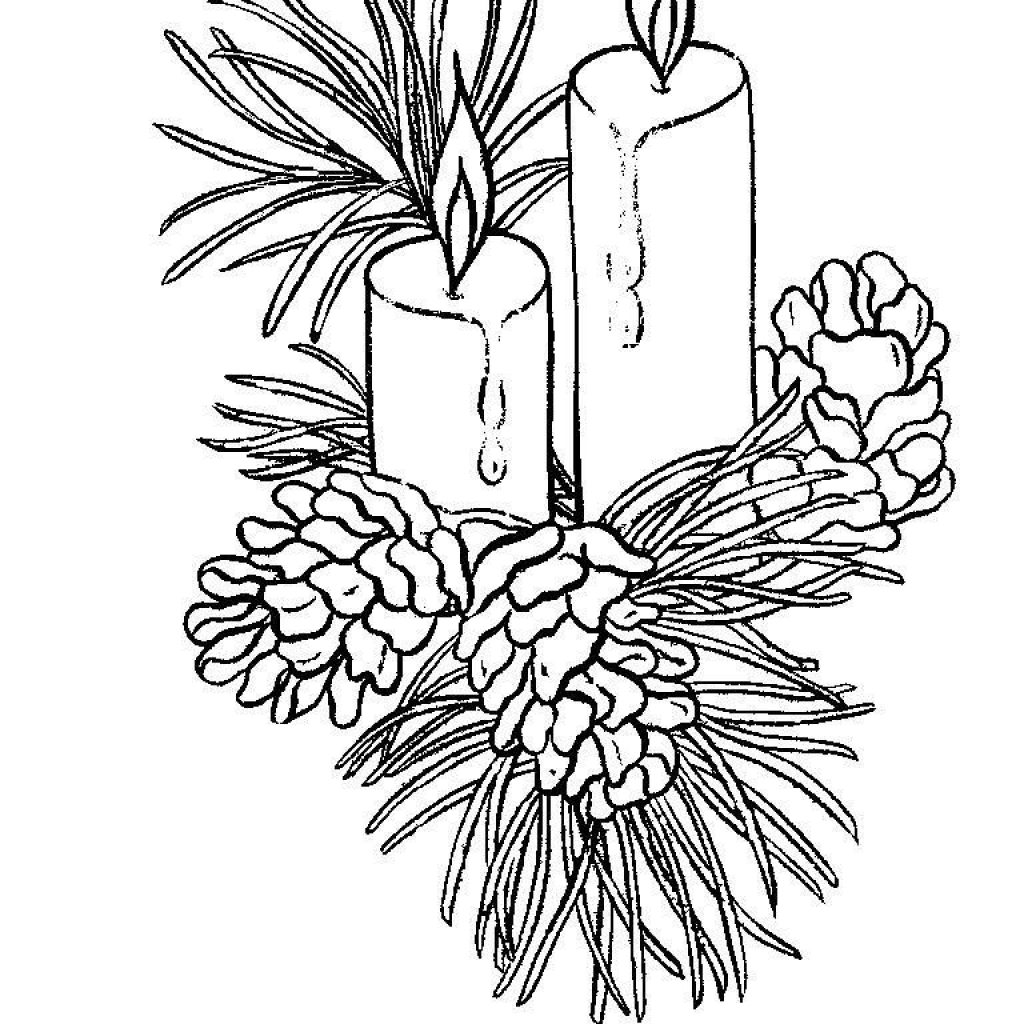 Christmas Coloring Pages Candle With Beautiful Candles Page Free Printable