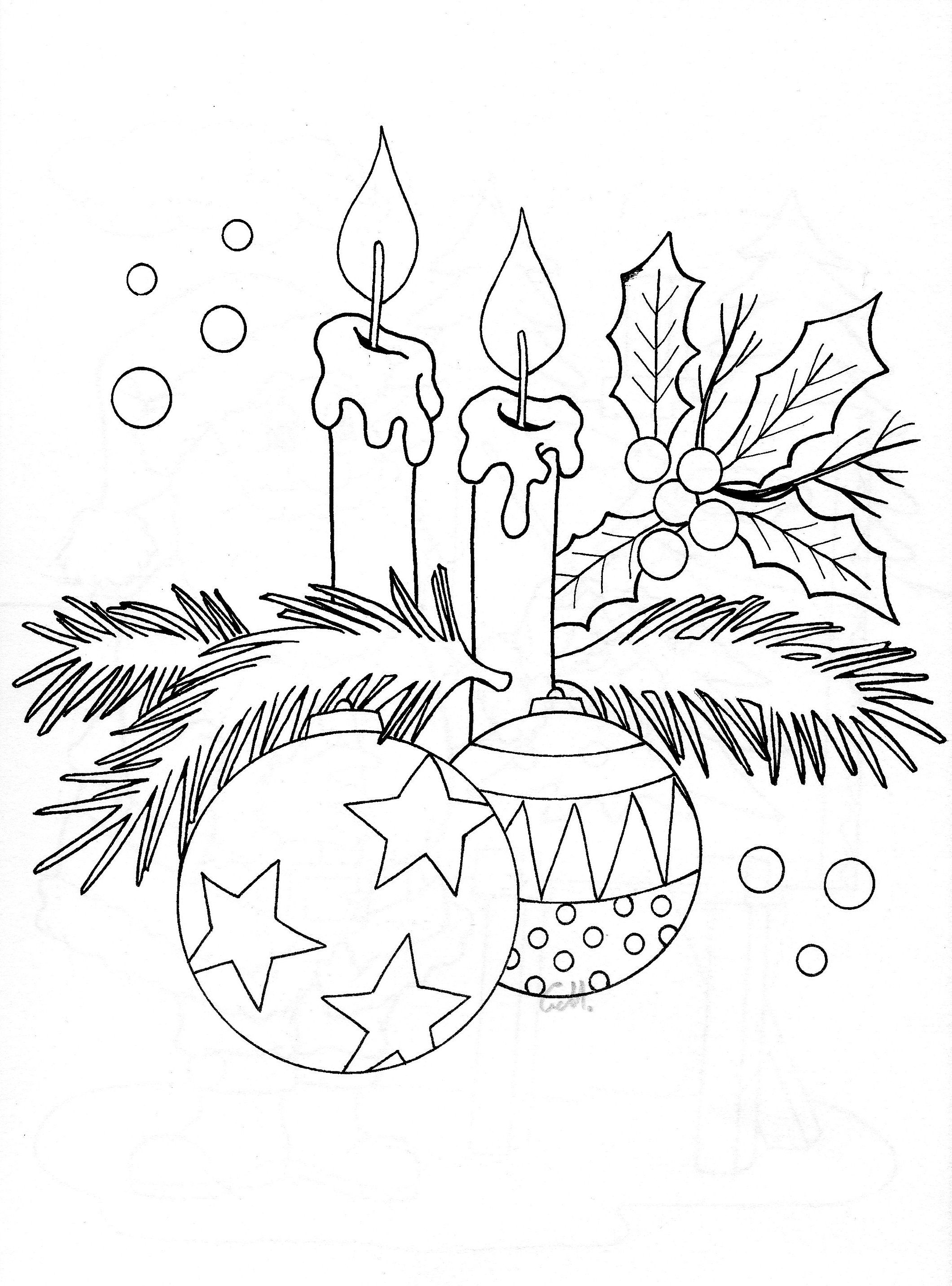 Christmas Coloring Pages Candle With Candles Holiday Embroidery PERGAMANO Pinterest