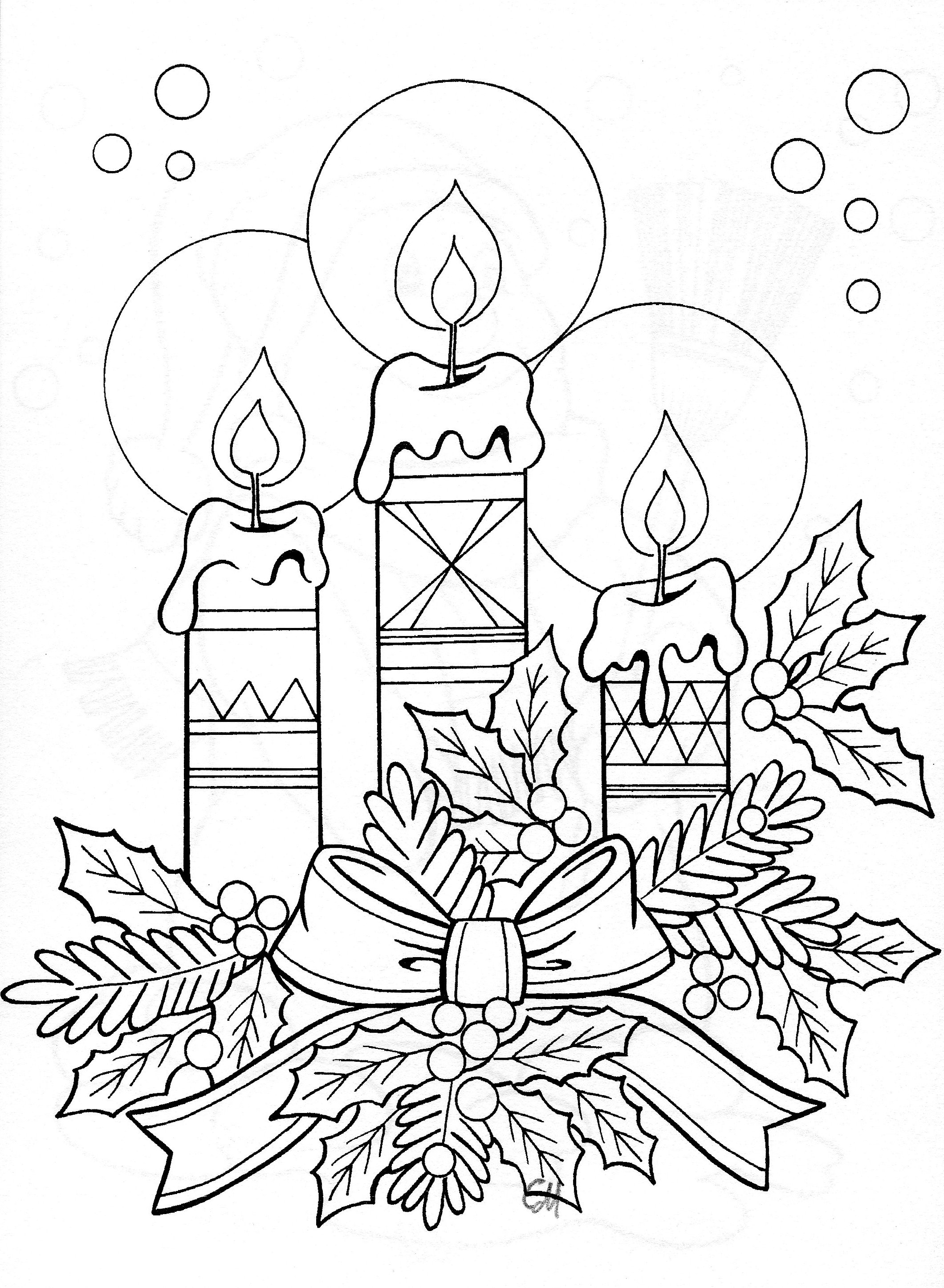 Christmas Coloring Pages Candle With Collection Free Books