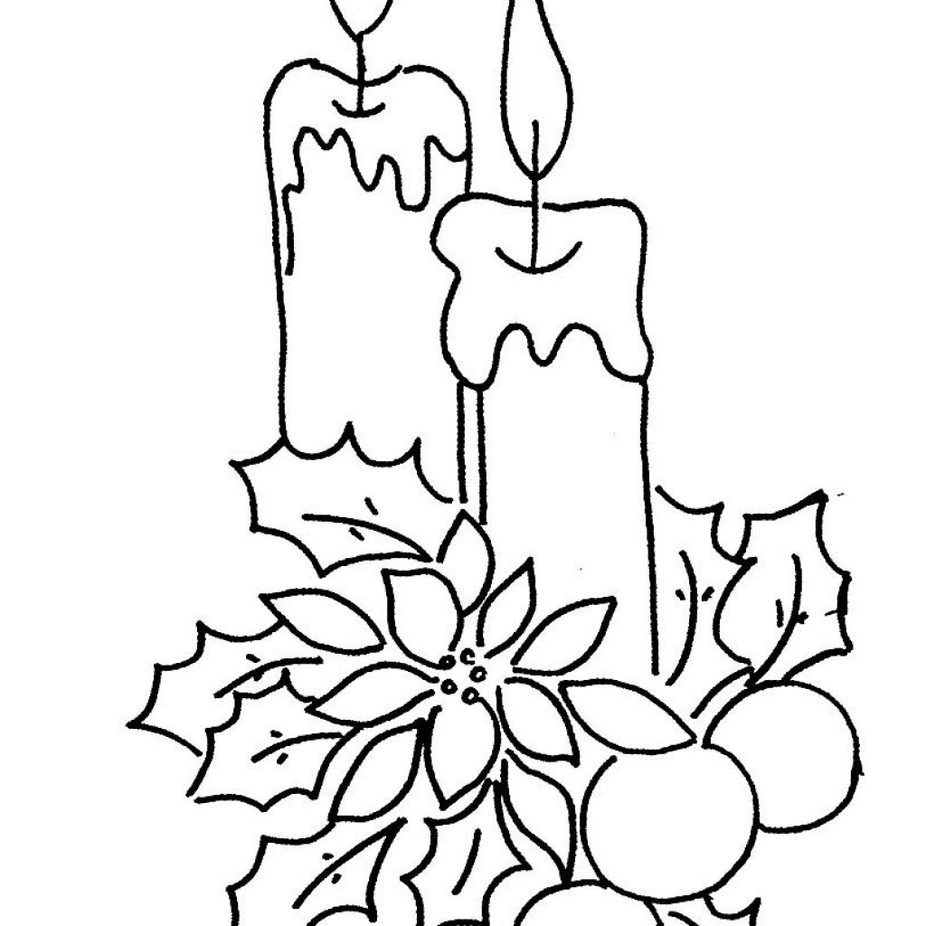 Christmas Coloring Pages Candle With Collection Of Download Them And