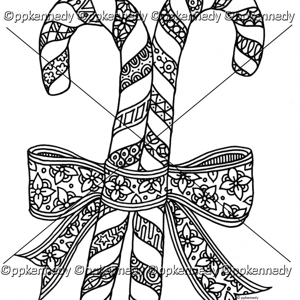 Christmas Coloring Pages Candy Cane With Color Page