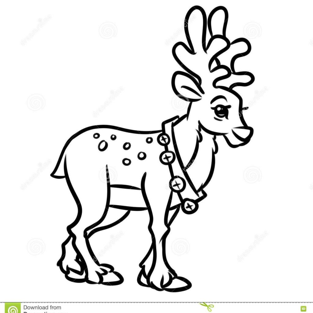 Christmas Coloring Pages Cartoon Characters With Deer Stock Illustration