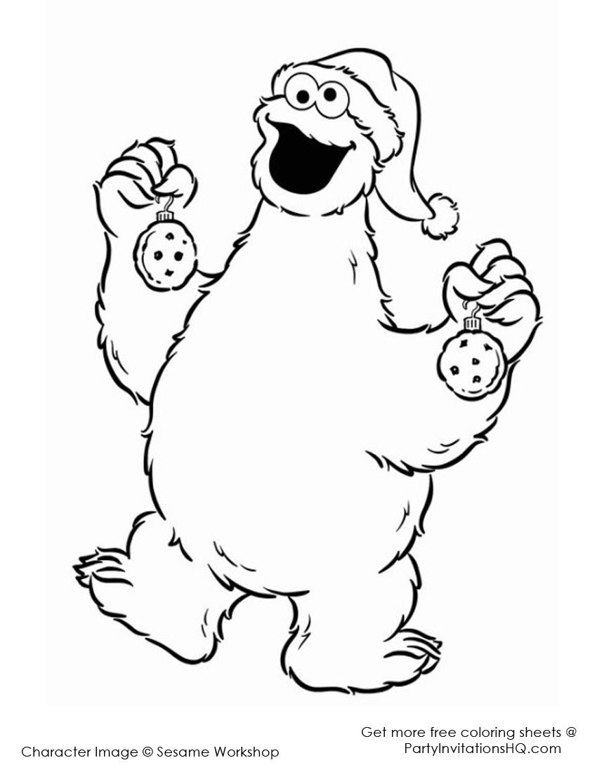 Christmas Coloring Pages Cartoon Characters With Sesame Street 8