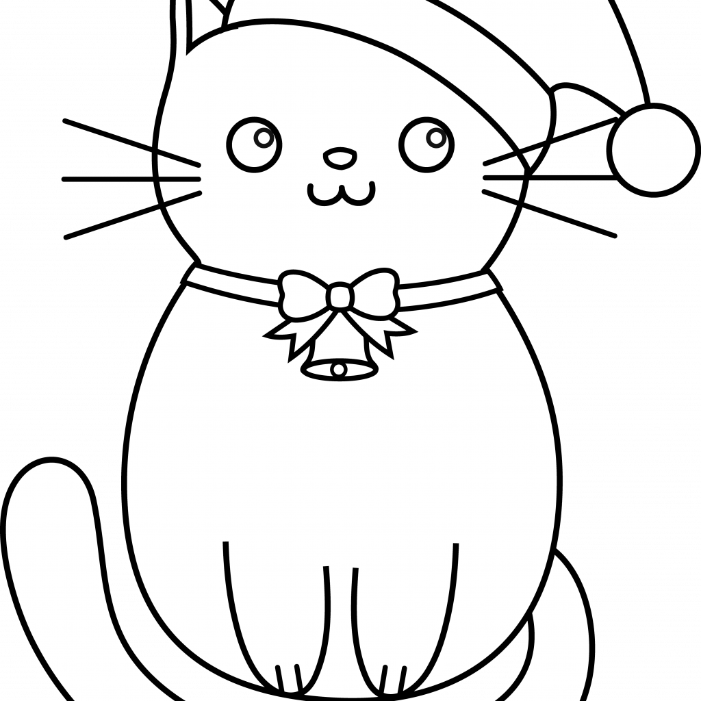 Christmas Coloring Pages Cat With Kitty Lineart Cardssss Pinterest