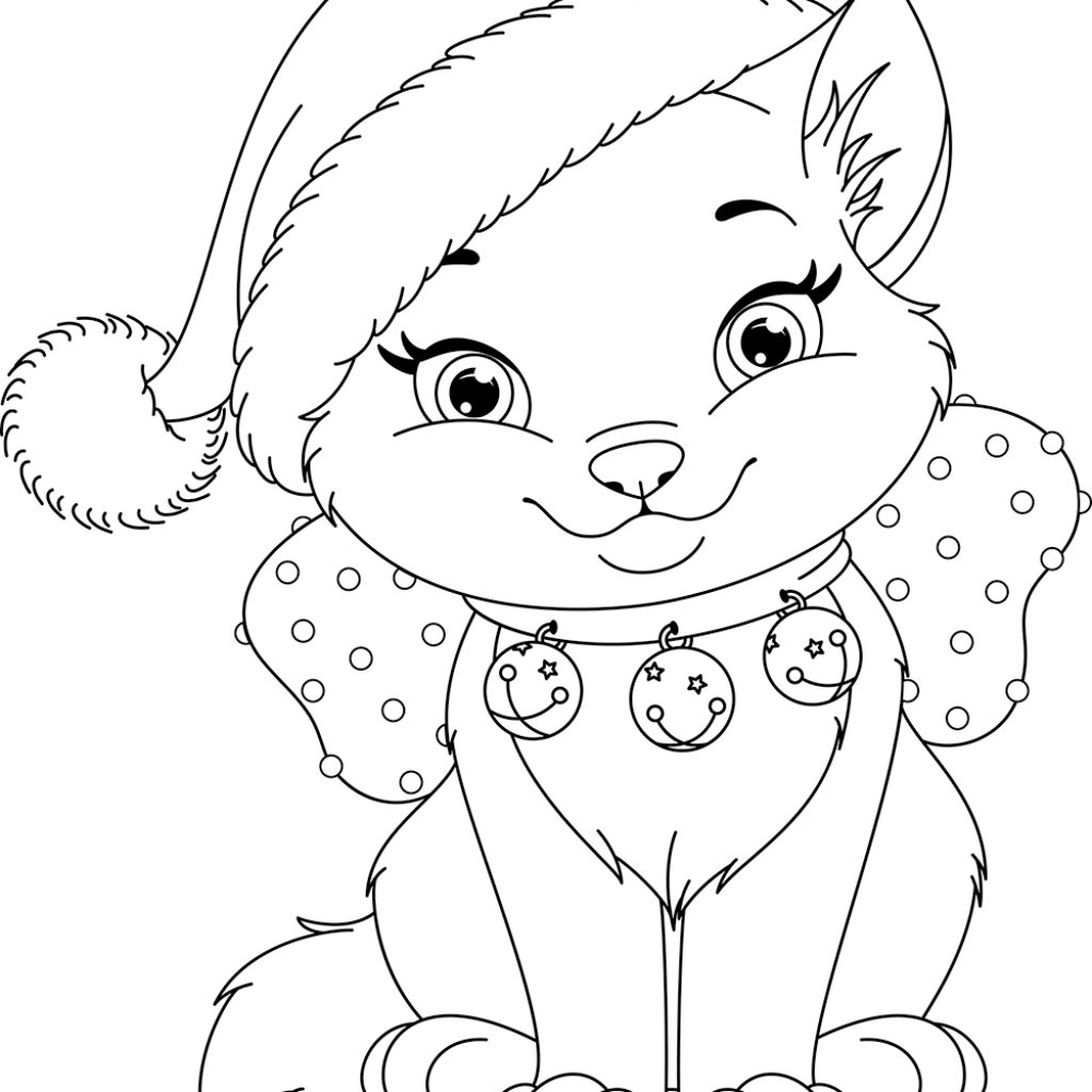 Christmas Coloring Pages Cat With Luxury Kitty Kids
