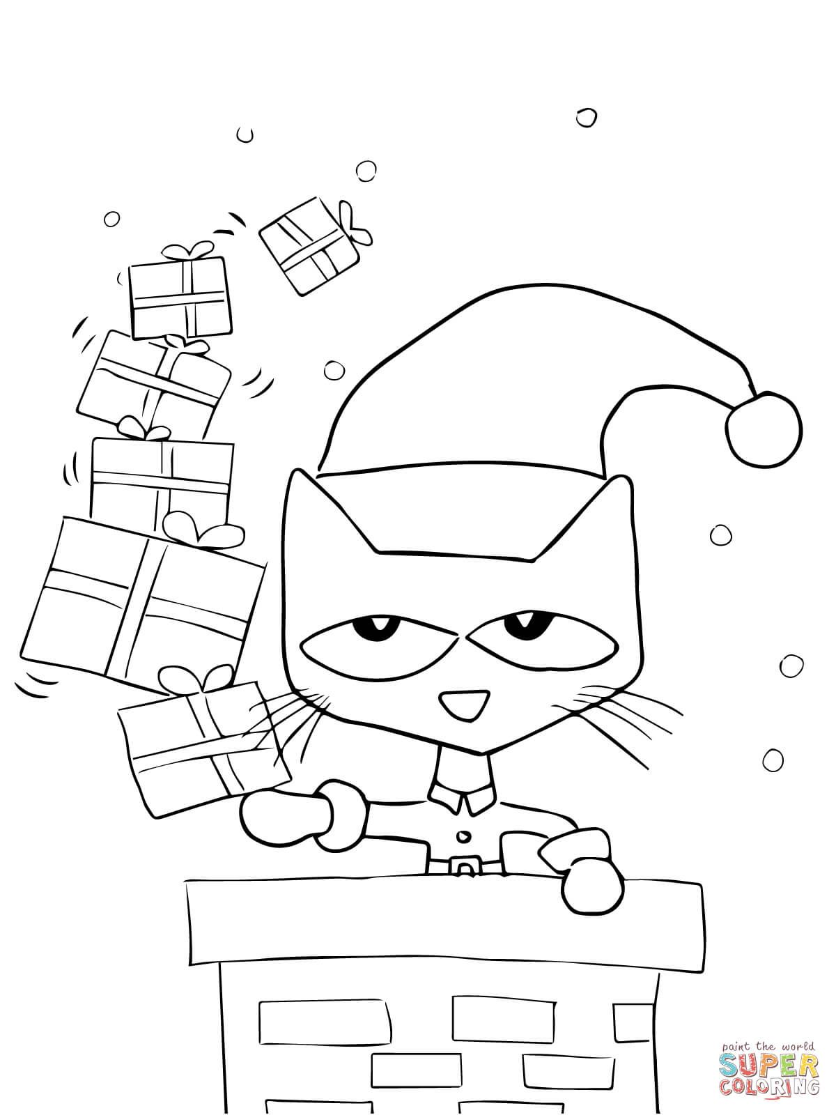 Christmas Coloring Pages Cat With Pete The Saves Page From