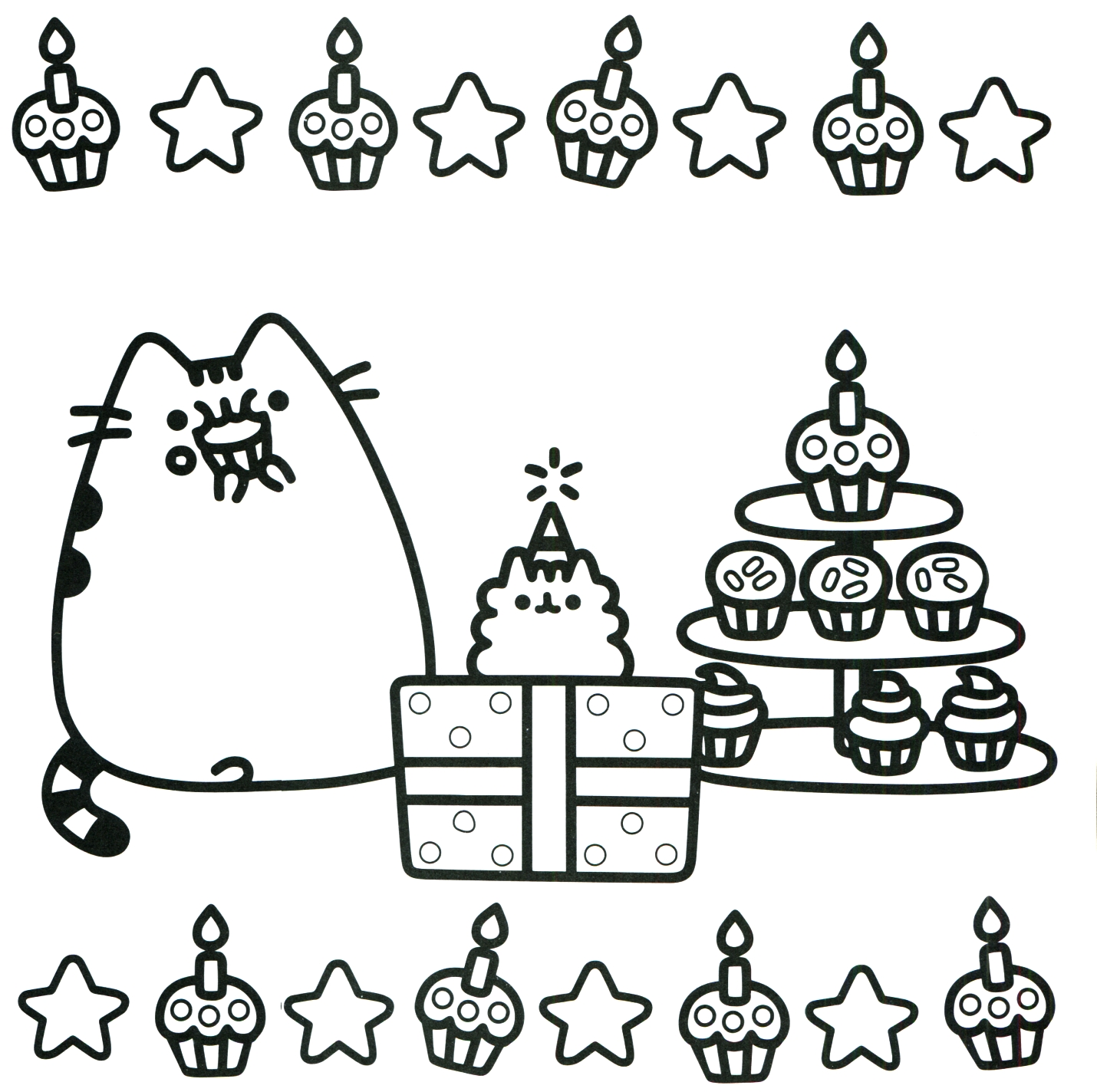 Christmas Coloring Pages Cat With Pusheen The Free Books