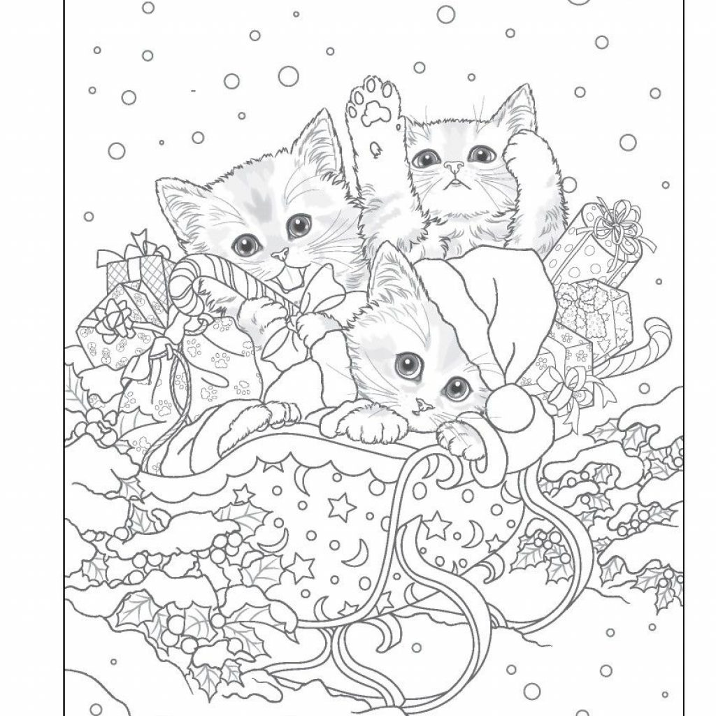 Christmas Coloring Pages Cat With Trio Xmas Kitties Pinterest Books