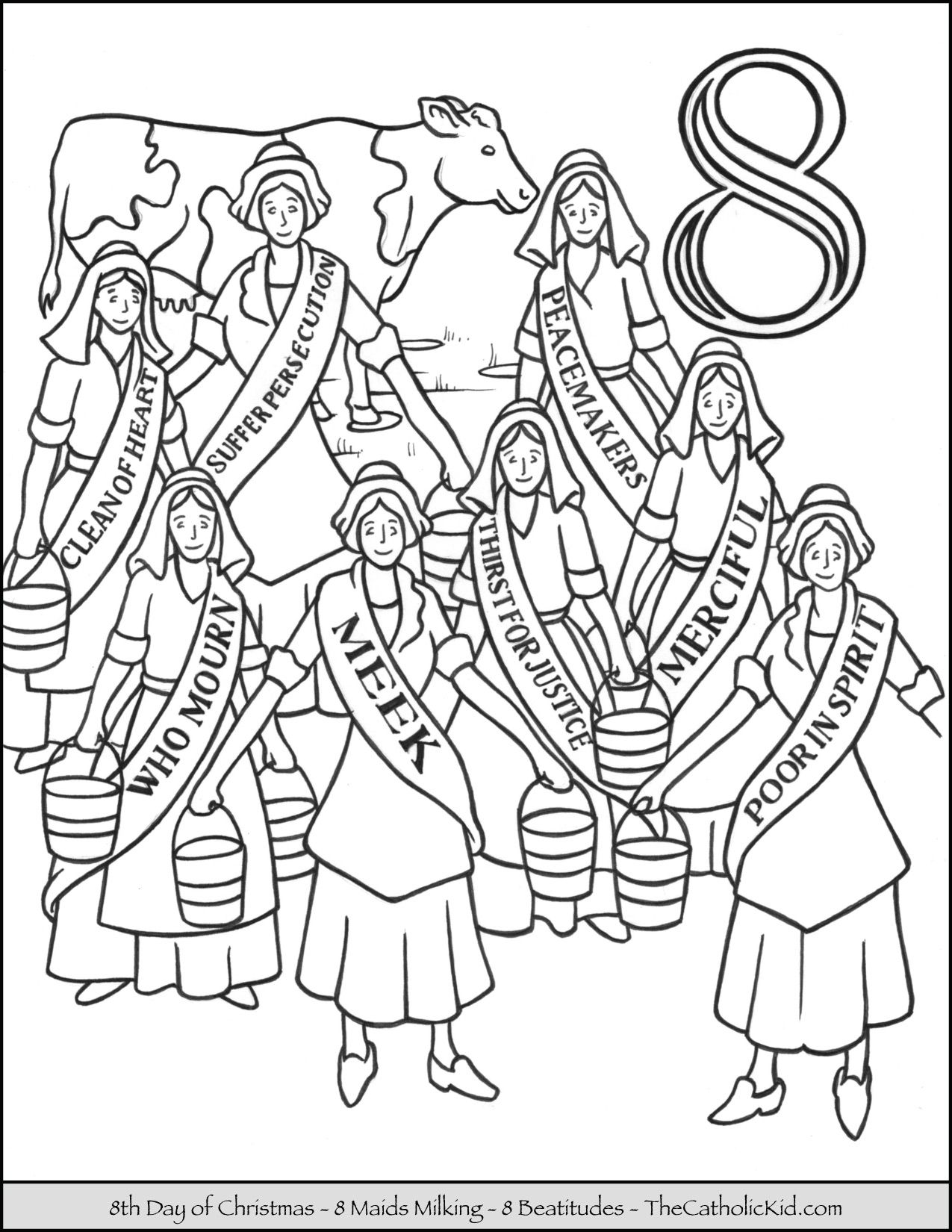 Christmas Coloring Pages Catholic With Eighth Day Of Eight Maids Milking Page