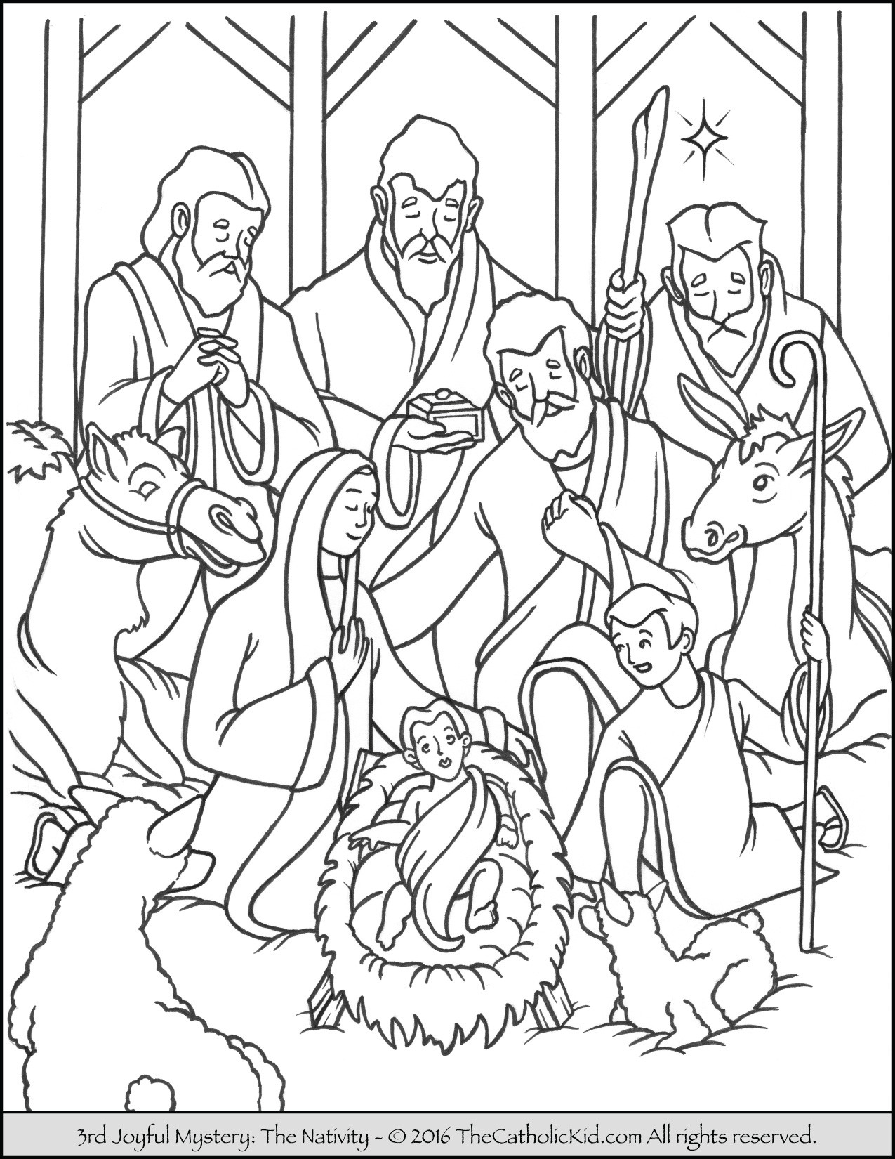 Christmas Coloring Pages Catholic With Jesus Striking Nativity Stable Page