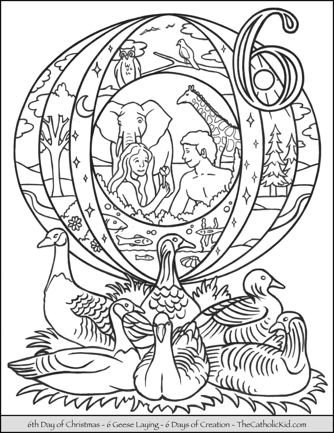 Christmas Coloring Pages Catholic With Sixth Day Of Six Geese Laying Page