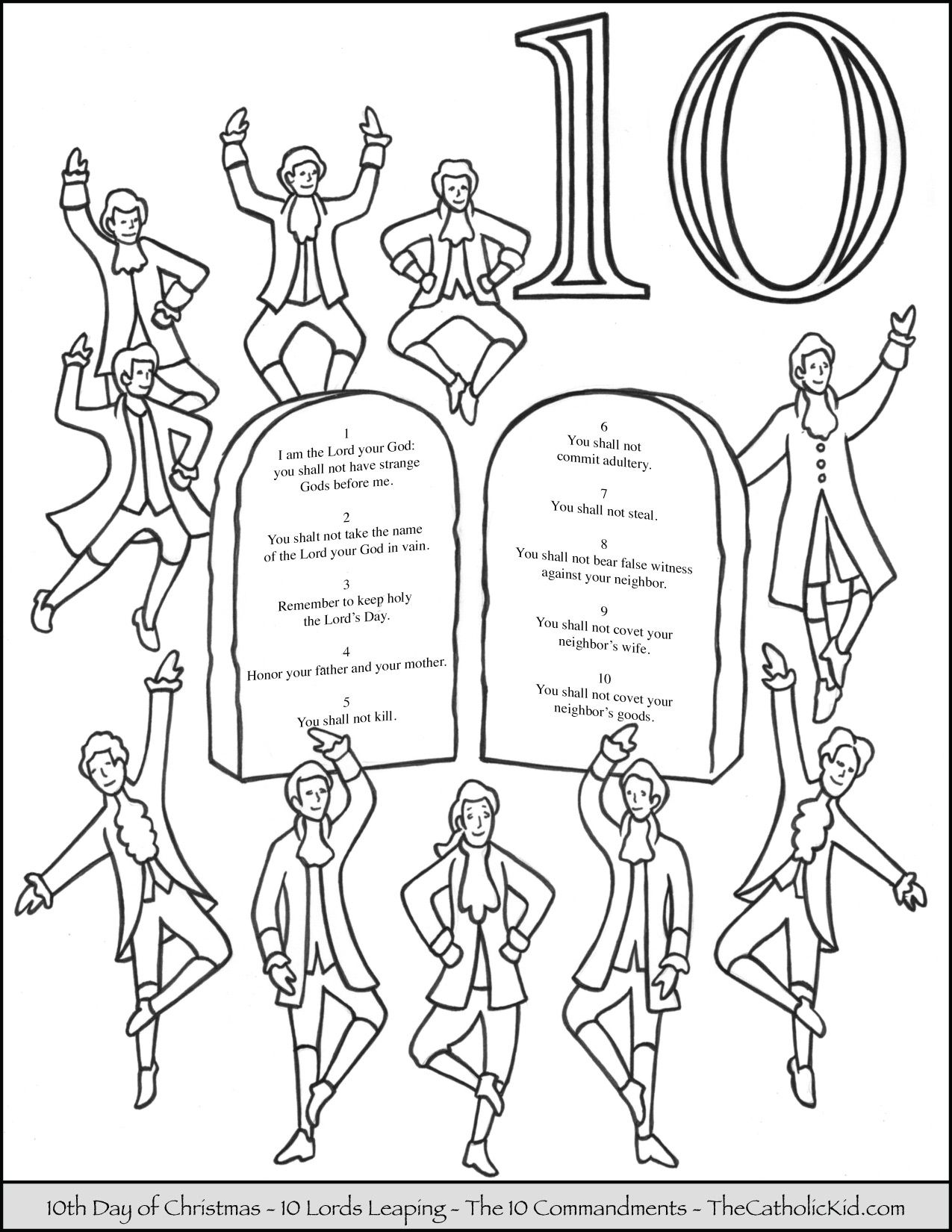 Christmas Coloring Pages Catholic With Tenth Day Of Ten Lords Leaping Page