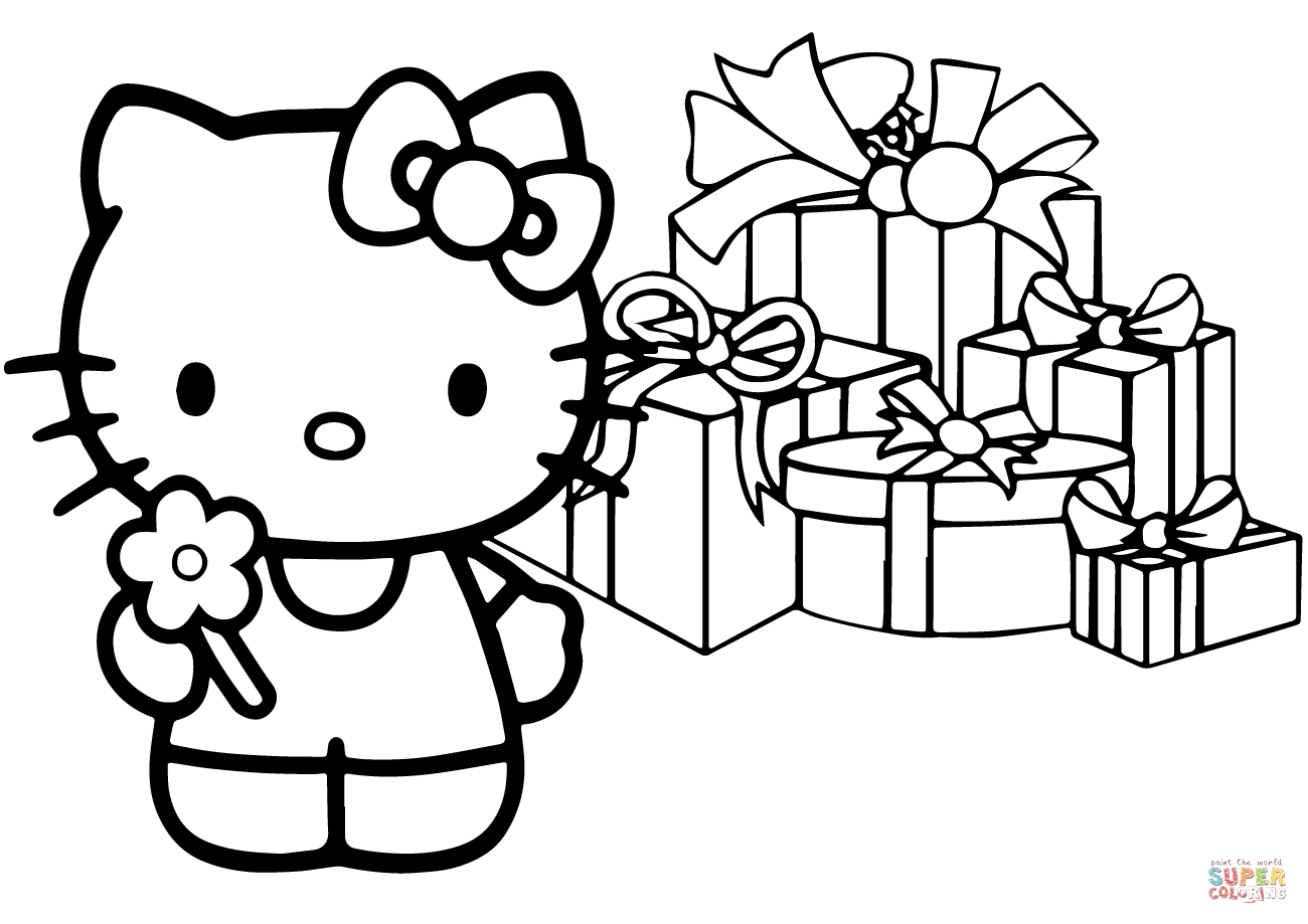 Christmas Coloring Pages Characters With Hello Kitty Happy Page Free Printable