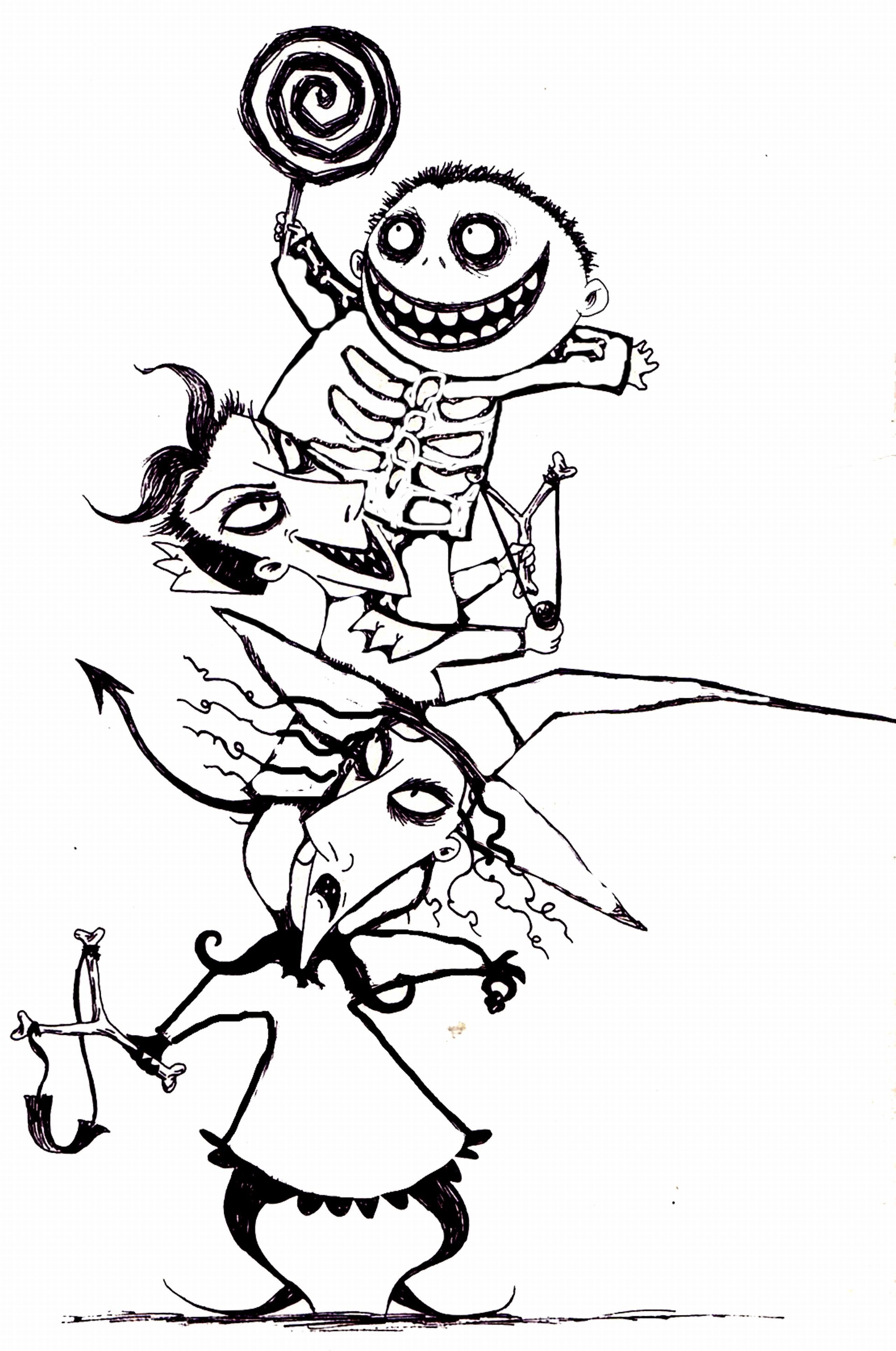 Christmas Coloring Pages Characters With Nightmare Before Archives