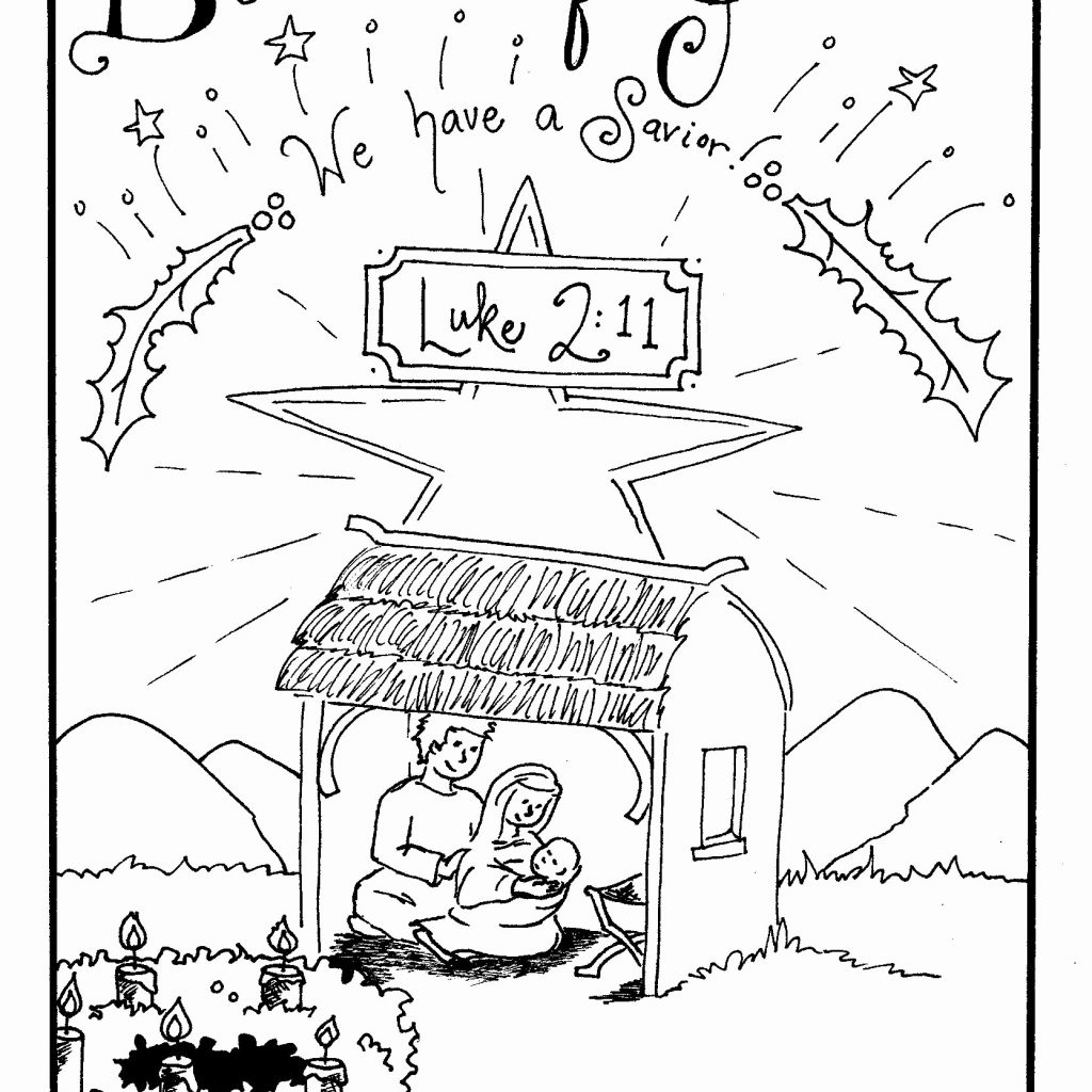 Christmas Coloring Pages Church With For Childrens Fresh Birth
