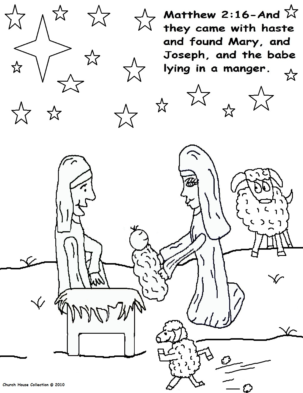 Christmas Coloring Pages Church With The Birth Of Jesus