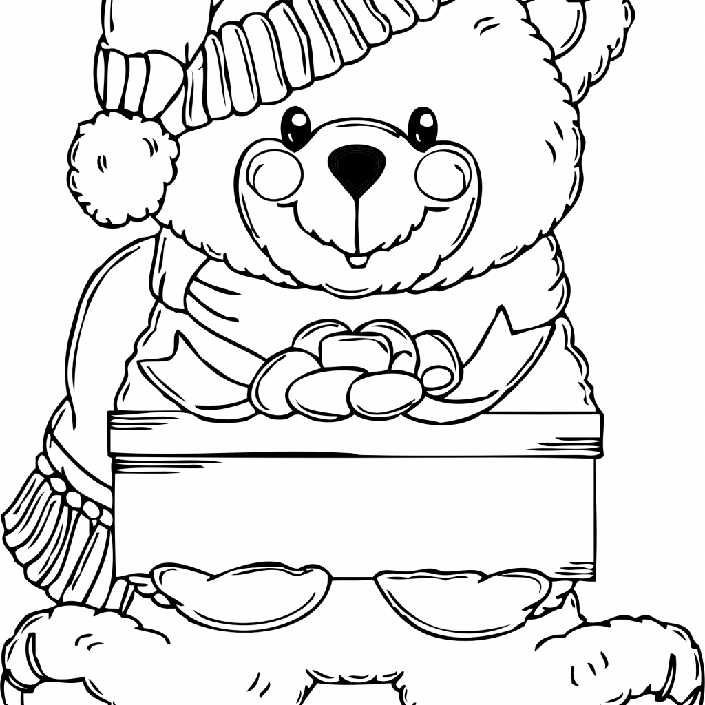 Christmas Coloring Pages Clip Art With Bear Page Icons PNG Free And Downloads