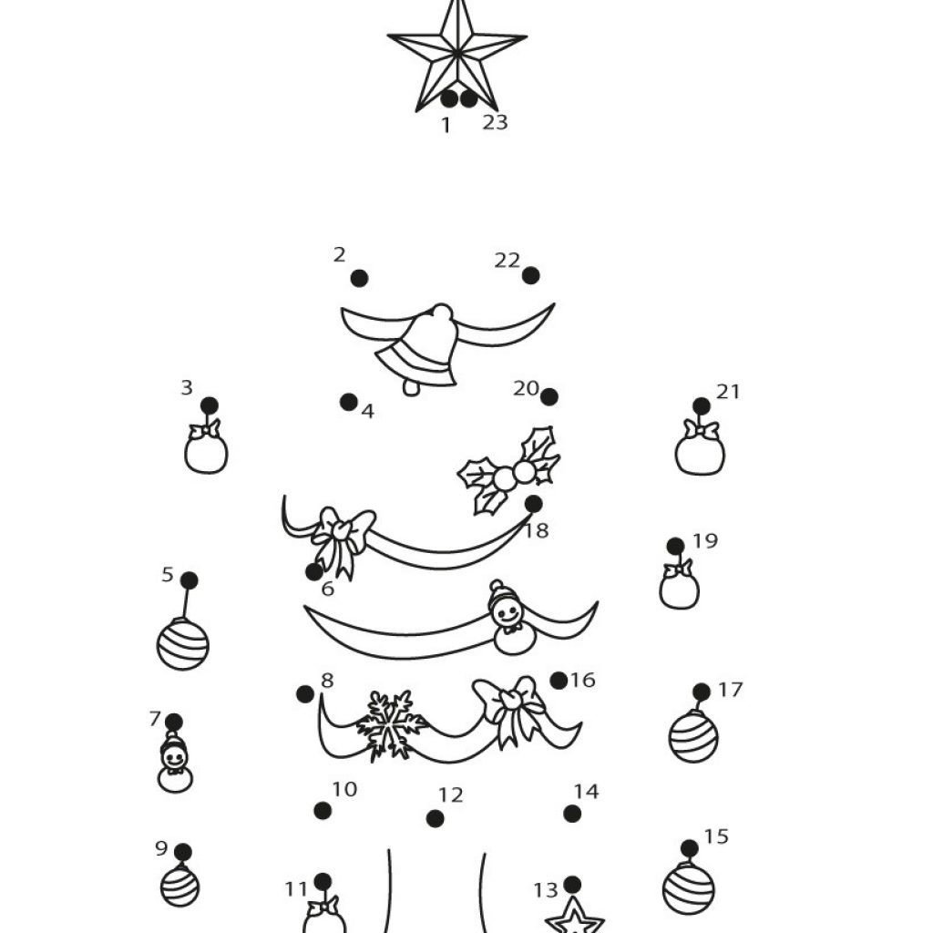 Christmas Coloring Pages Connect Dots With Dot To 24 Free Printable Worksheets For Kids