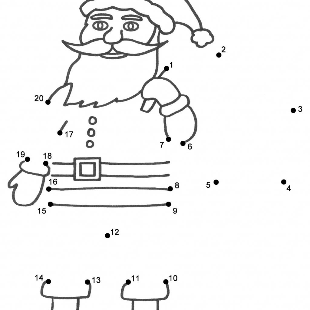Christmas Coloring Pages Connect Dots With Tree Dot To Best Santa Claus