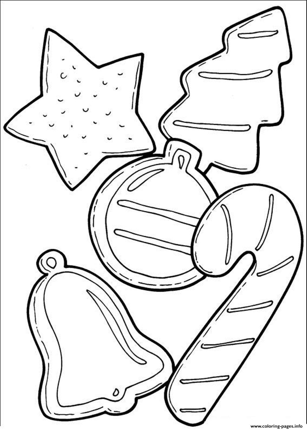 Christmas Coloring Pages Cookies With And Candy Cane For C4fa Printable