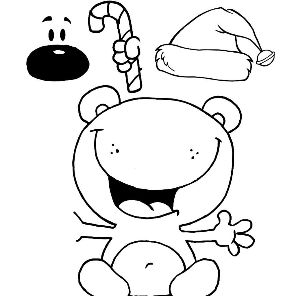 Christmas Coloring Pages Cut And Paste With Bear Activities DIY Gift