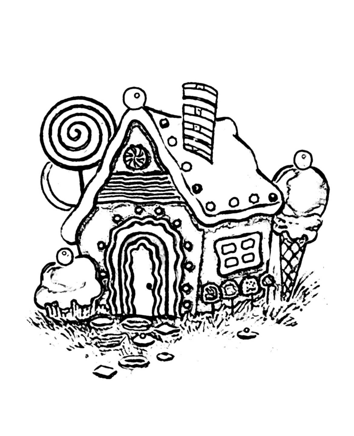 Christmas Coloring Pages Cut And Paste With Gingerbread House Sheet