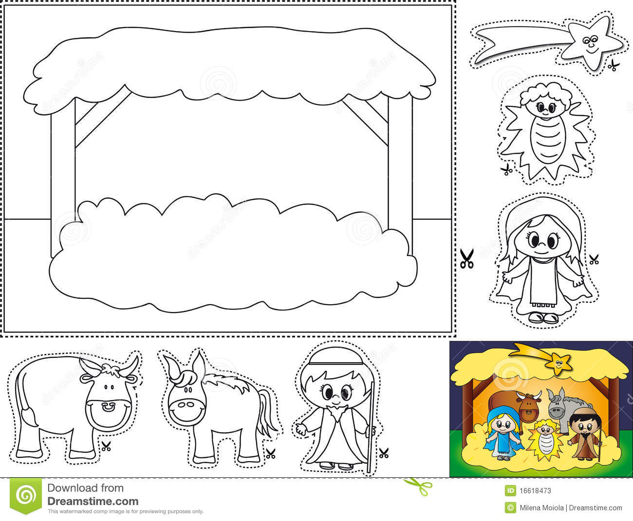 Christmas Coloring Pages Cut And Paste With Nativity Color Stock Illustration Of