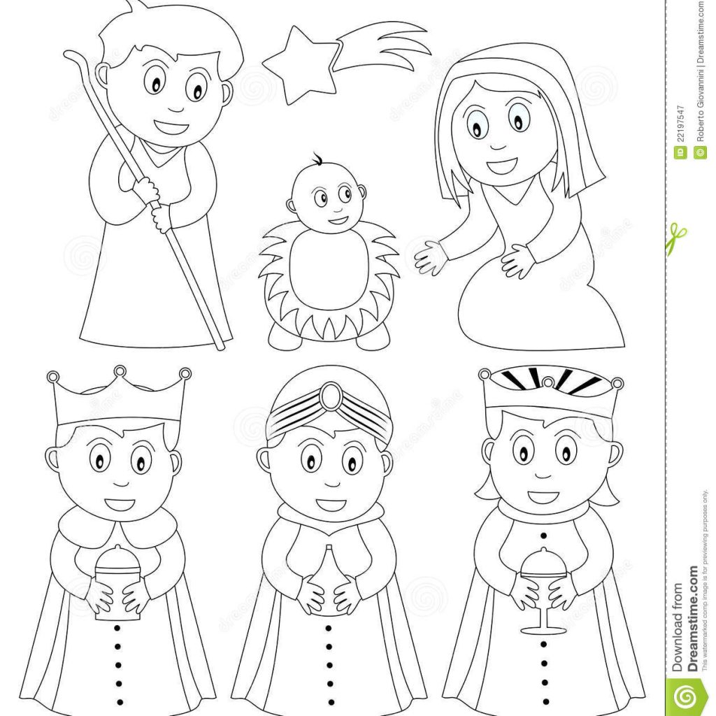Christmas Coloring Pages Cut And Paste With Nativity Stock Vector Illustration Of Infant