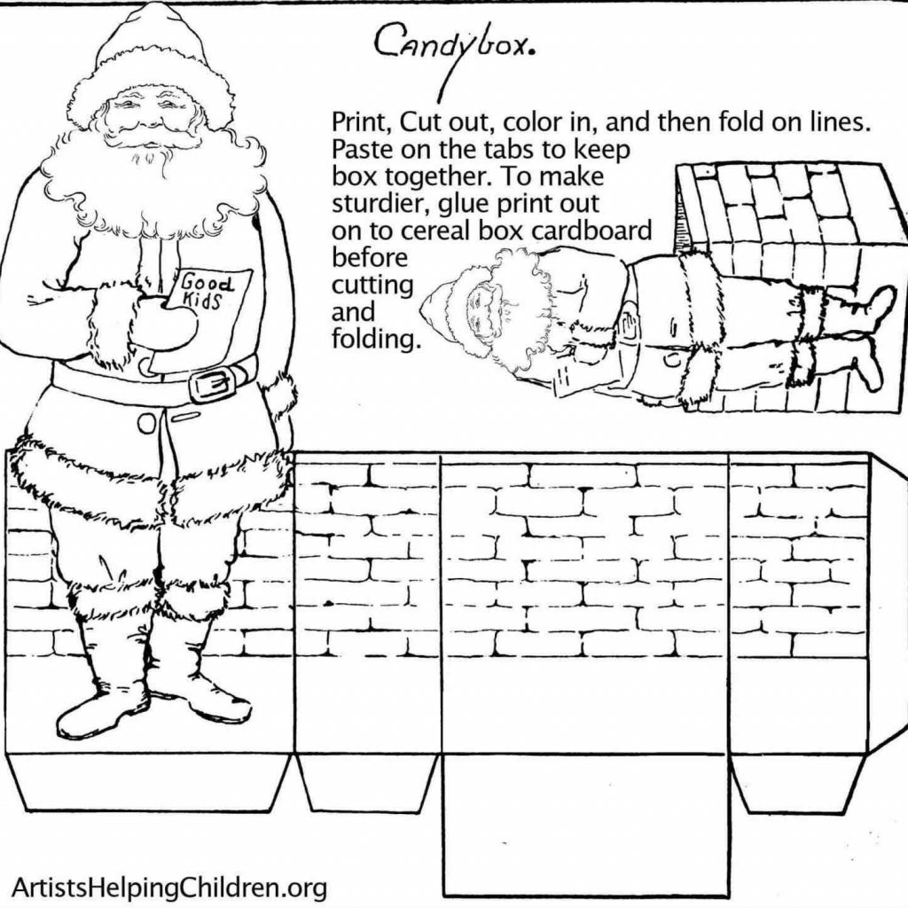 Christmas Coloring Pages Cut And Paste With Santa Claus On His Sleigh Free Village