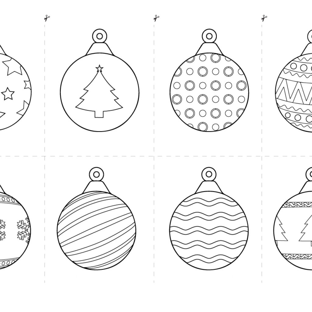 Christmas Coloring Pages Cut Out With Bauble Colouring In
