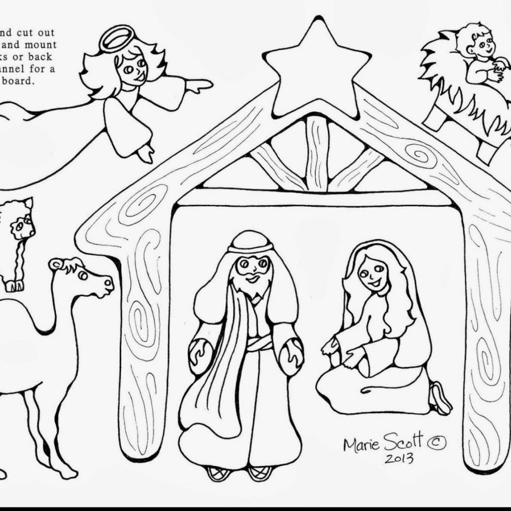 Christmas Coloring Pages Cut Out With Free Printable Nativity Scene