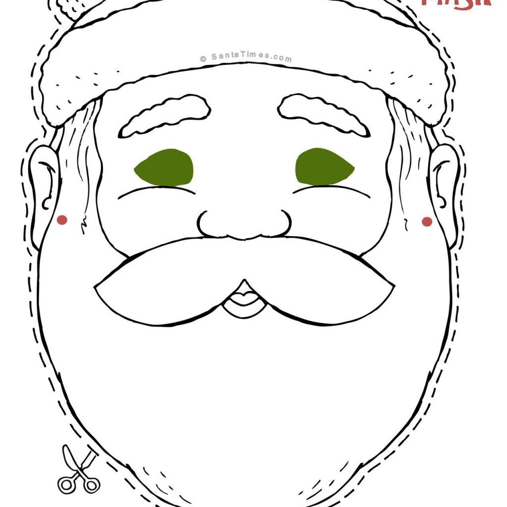 Christmas Coloring Pages Cut Out With Here S A Jolly Santa Mask To And Color Find More Fun