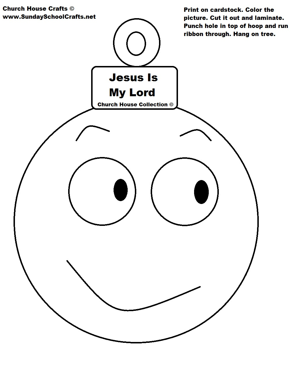 Christmas Coloring Pages Cut Out With Jesus Is My Lord Ball Ornament Cutout