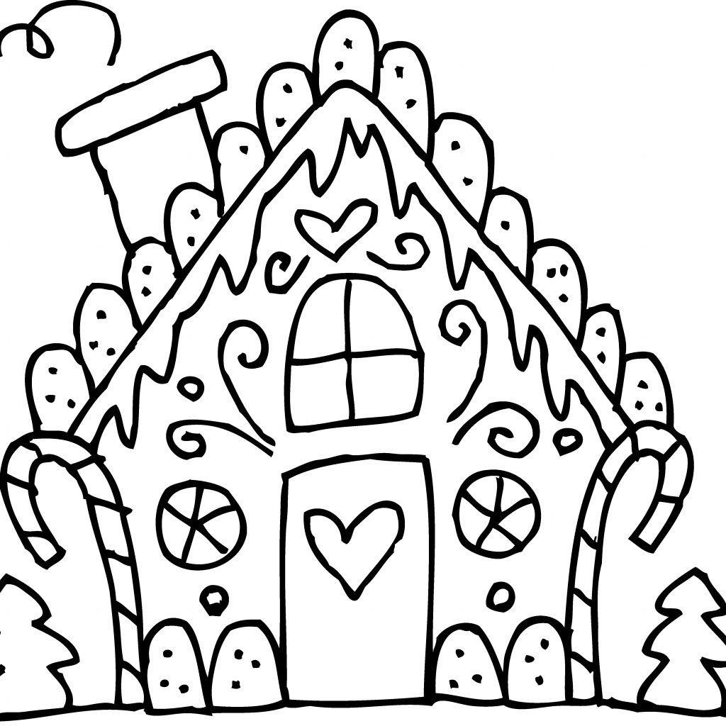 Christmas Coloring Pages Cute With Gingerbread House Download Free