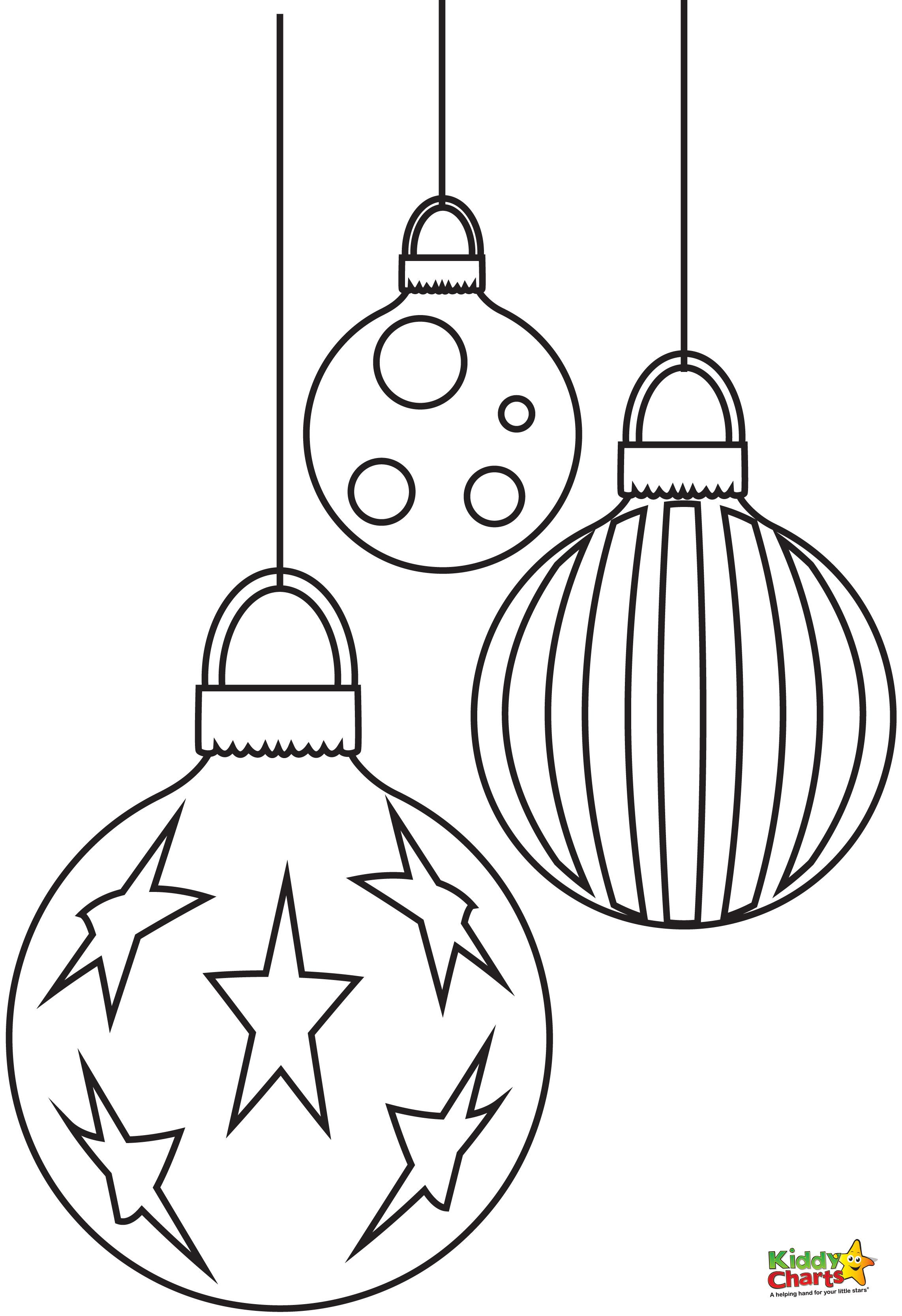Christmas Coloring Pages Decorations With Baubles Free From Pinterest