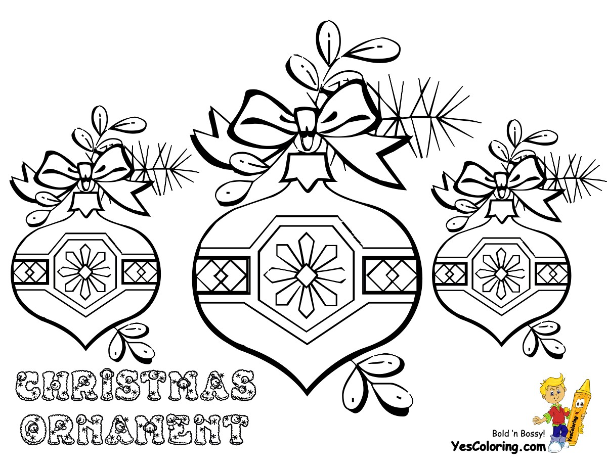 Christmas Coloring Pages Decorations With Ornaments Medium To Colour