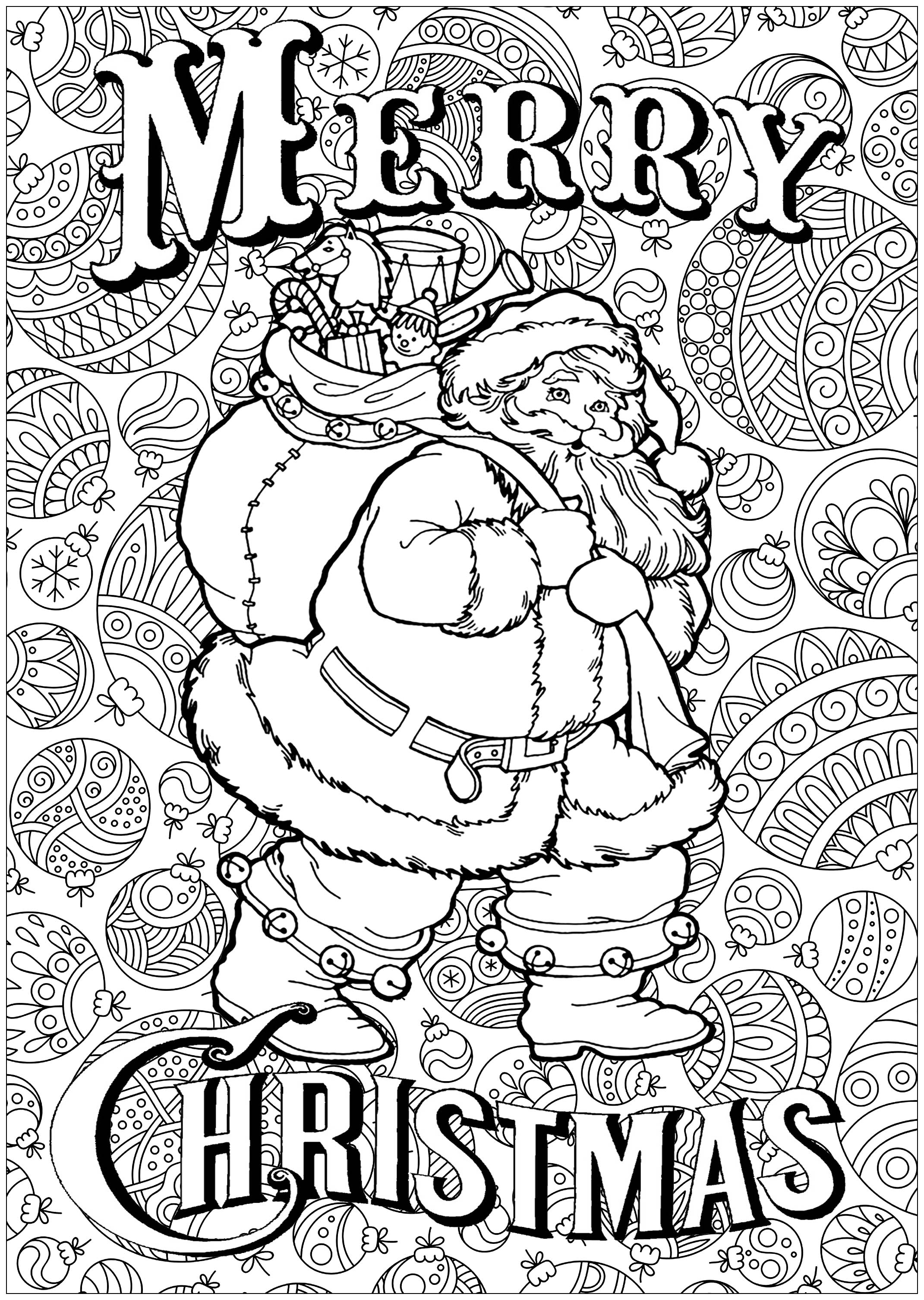 Christmas Coloring Pages Detailed With Free To Print For Adults Printable