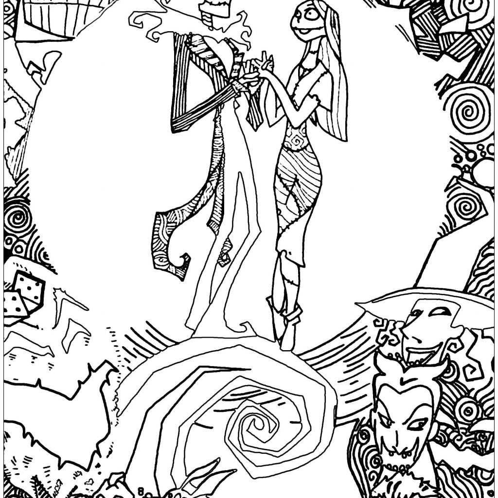 Christmas Coloring Pages Detailed With Nightmare Before For Adults Crafts And Arts
