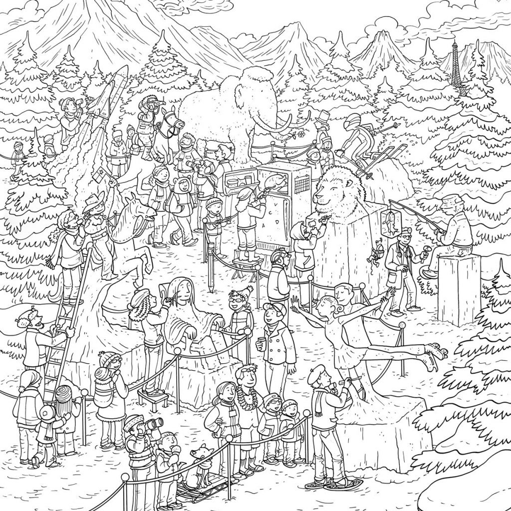 Christmas Coloring Pages Difficult For Adults With New Complicated Landscape Design Great