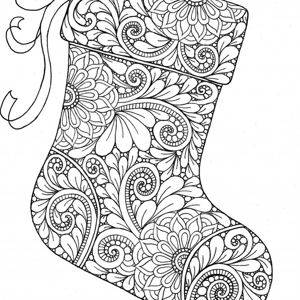 Christmas Coloring Pages Difficult For Adults With Stocking