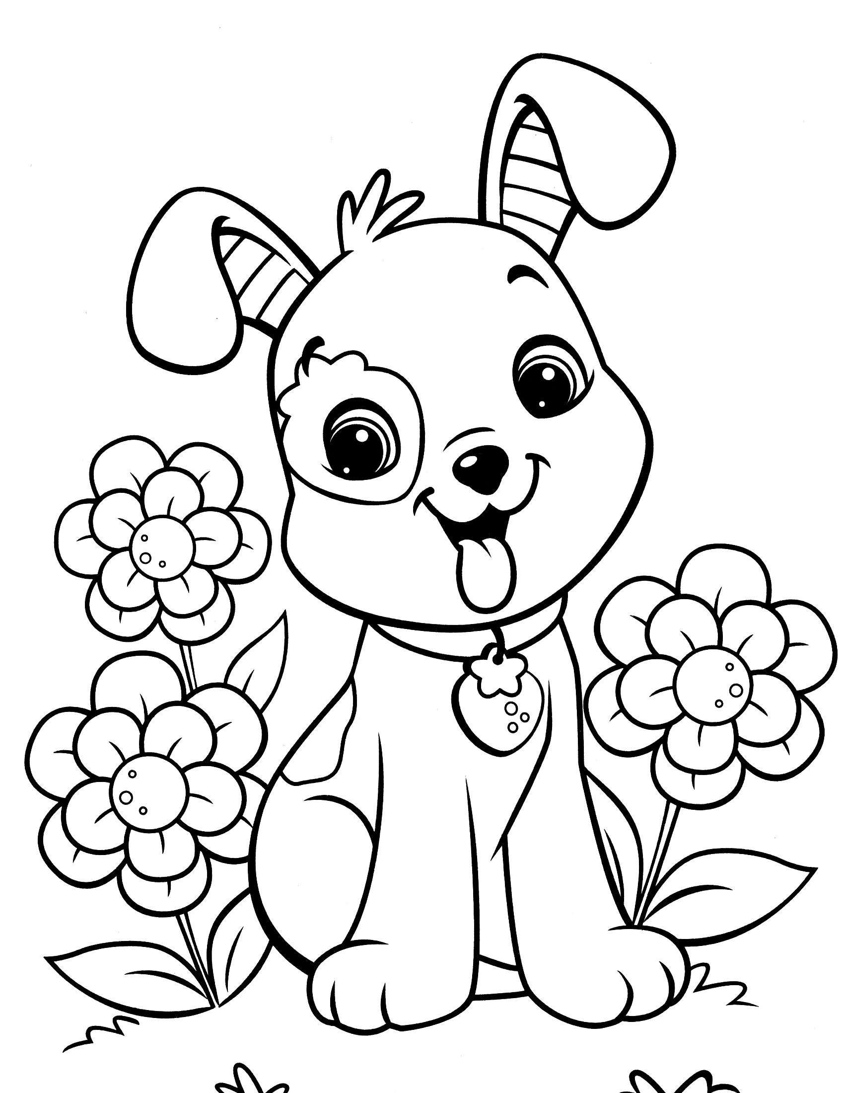 Christmas Coloring Pages Dogs With Cartoon Kids Page 4