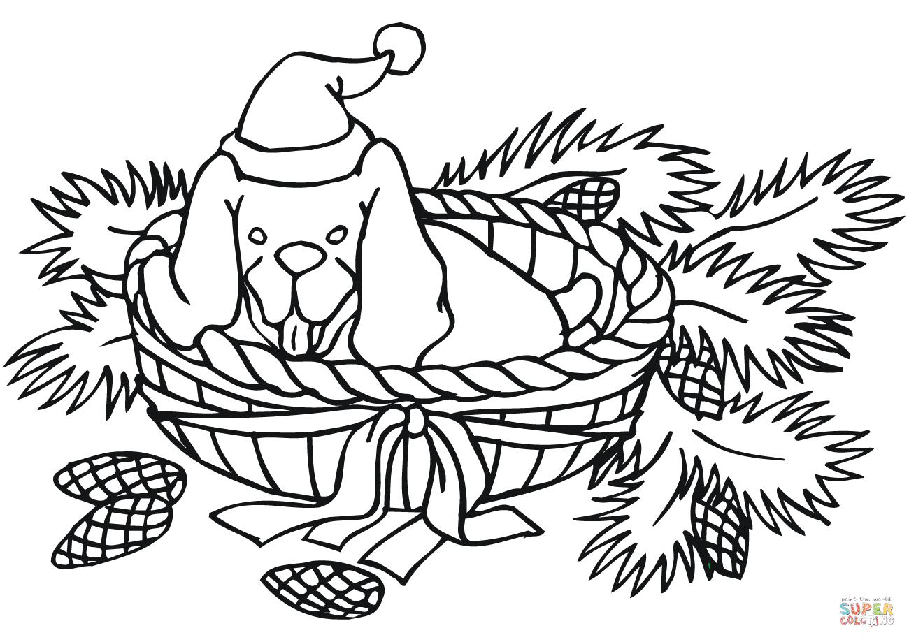Christmas Coloring Pages Dogs With Dog Page Free Printable