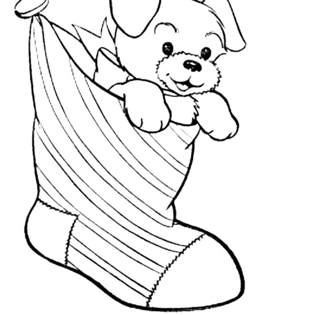 Christmas Coloring Pages Dogs With Puppy Page