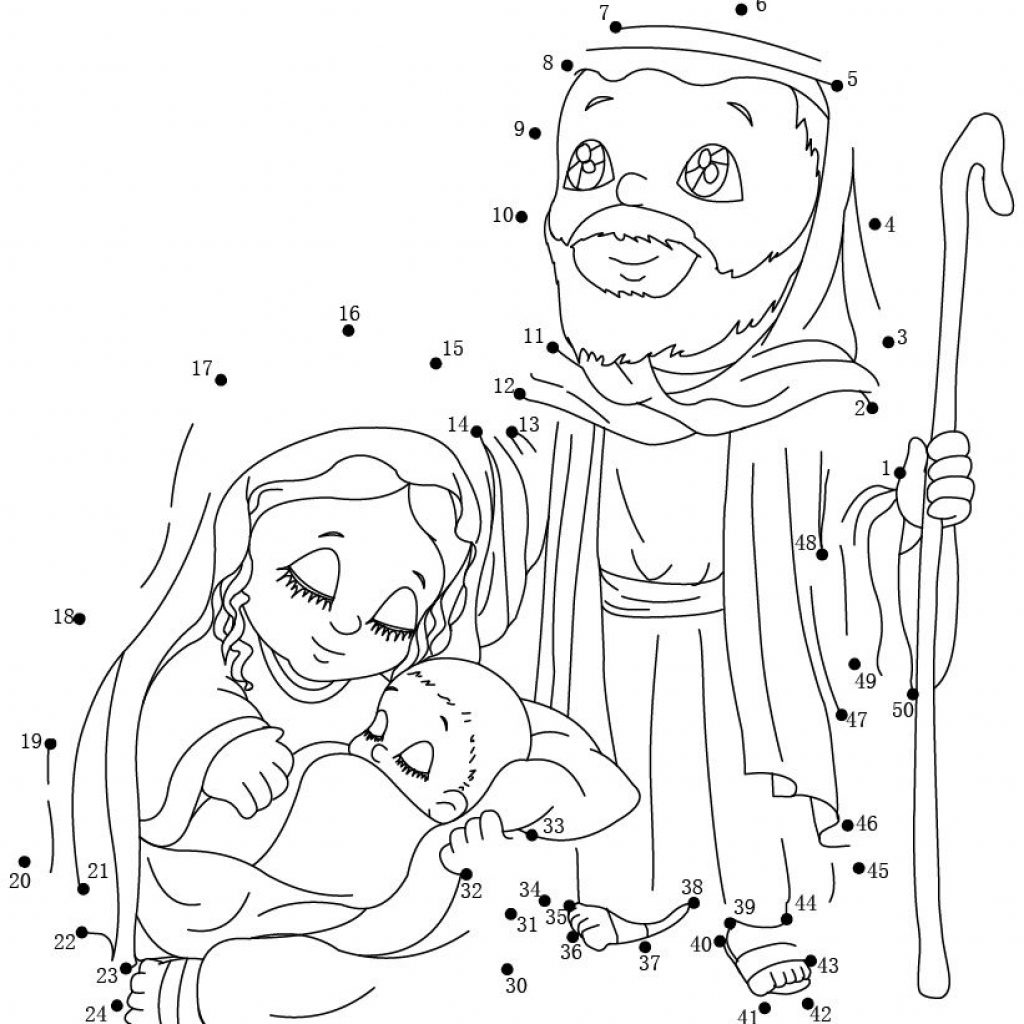 Christmas Coloring Pages Dot To With Native Worksheet The Holy Family Joseph