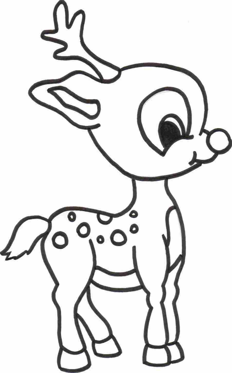 Christmas Coloring Pages Easy With Free Printable Reindeer For Kids Sketch Pinterest