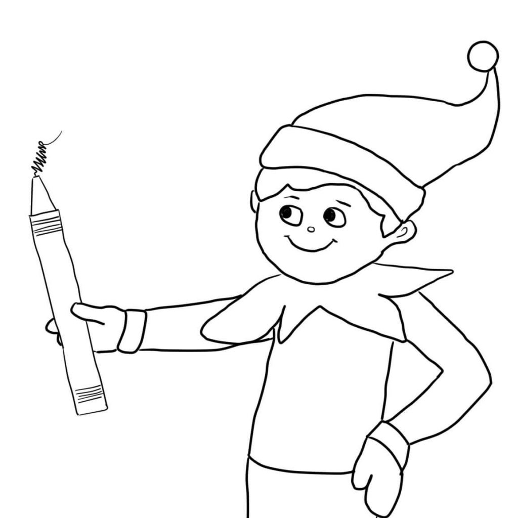 Christmas Coloring Pages Elf On The Shelf With Girl