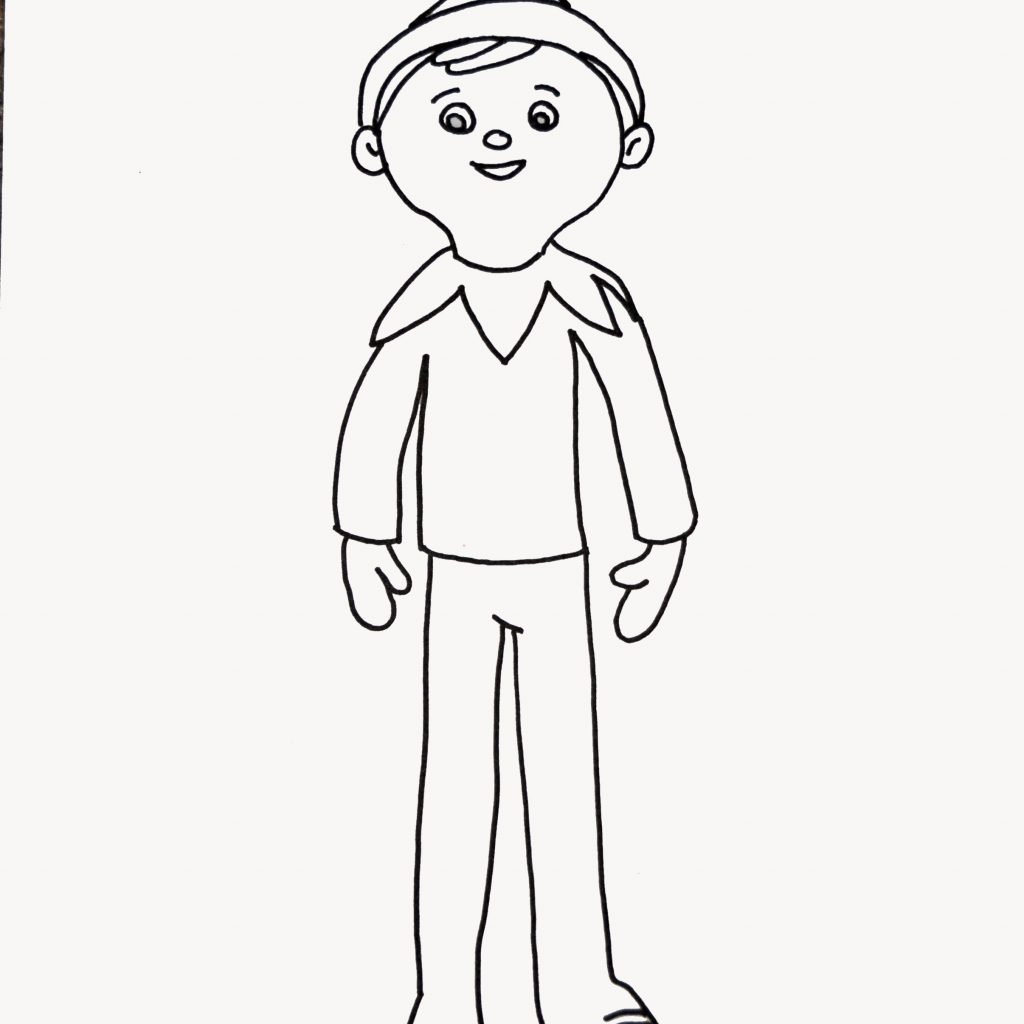Christmas Coloring Pages Elf On The Shelf With Page For Elfie And Kids To Colour In